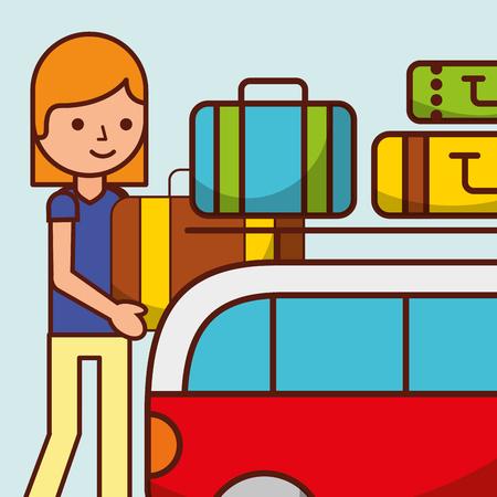 cartoon girl van car travel baggage vector illustration Illustration