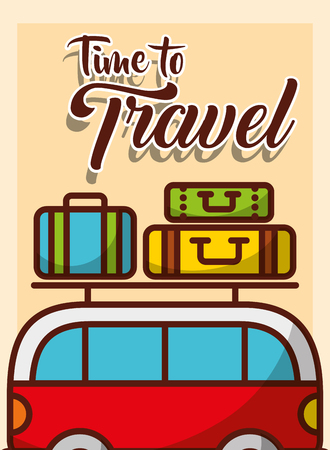 time to travel van car travel baggage on roof vector illustration