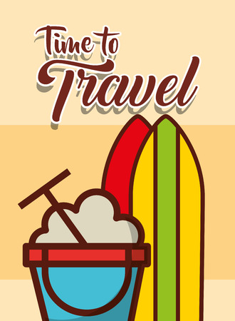 time to travel beach bucket and surf boards vector illustration