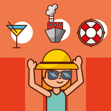 time to travel girl tourist cruise boat and lifebuoy vector illustration Illustration
