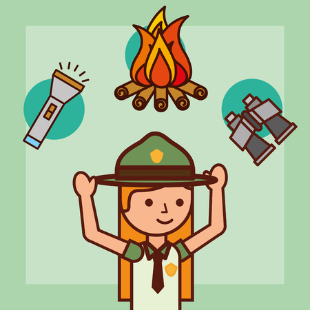time to travel girl explorer campfire binoculars and lantern vector illustration