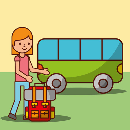 time to travel girl cartoon backpack and bus transport vector illustration