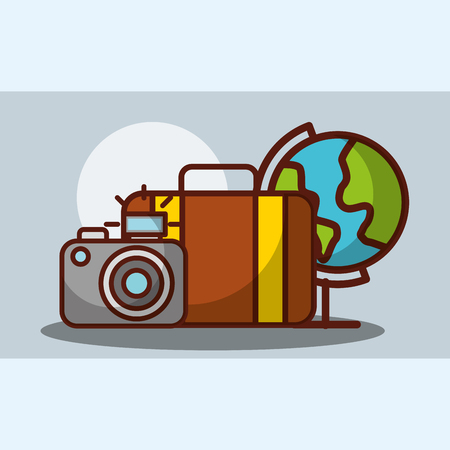 time to travel worl suitcase and photography camera vector illustration Illusztráció