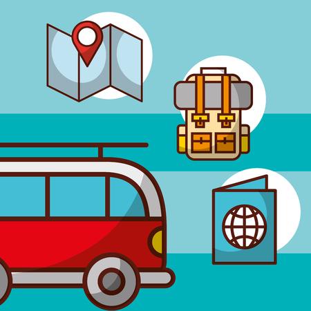 time to travel adventure car van rucksack passport map vector illustration Ilustração