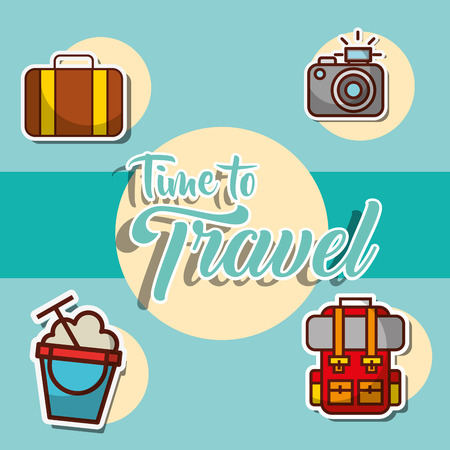 backpack suitcase camera time to travel poster announced vector illustration