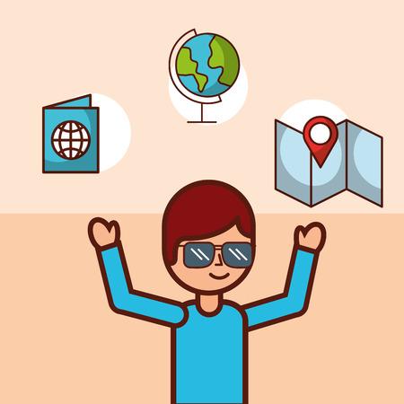 time to travel boy traveler in glasses passport world vector illustration Ilustracja
