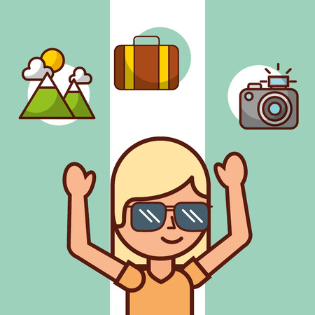 time to travel girl tourist suitcase mountain camera vector illustration Illustration