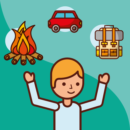 time to travel boy traveler campfire car backpack vector illustration Çizim