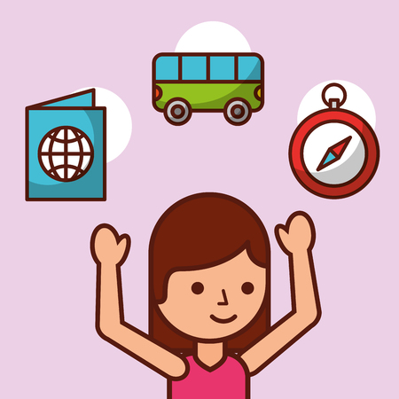 time to travel girl tourist passport compass minibus vector illustration