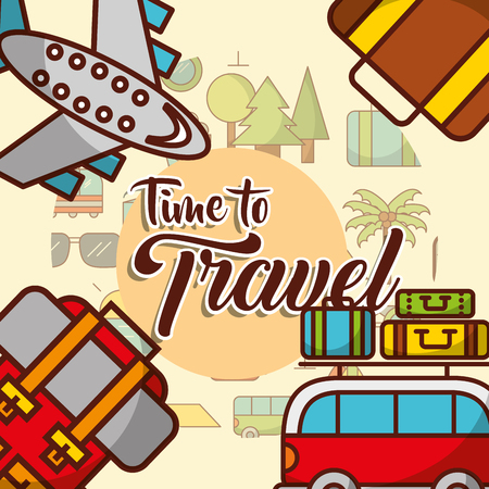 transport plane car baggage time to travel poster announced vector illustration  イラスト・ベクター素材