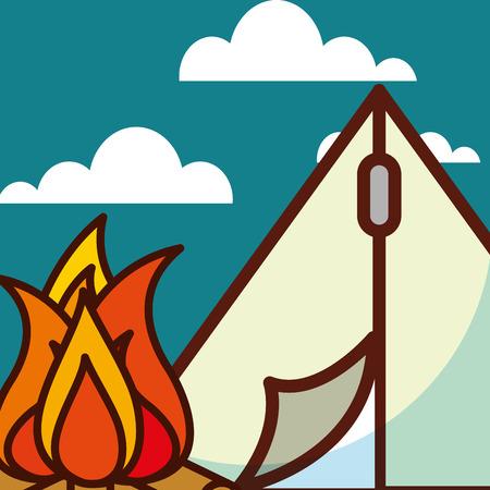 time to travel camp tent bonfire natural vector illustration