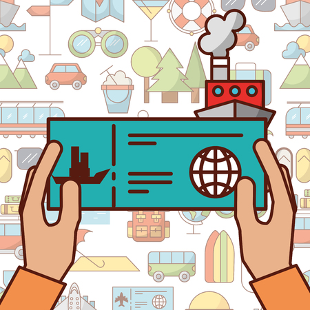 time to travel hands holding ticket boat vector illustration Illustration