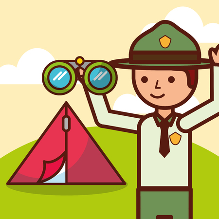 time to travel boy explorer tent and binoculars vector illustration
