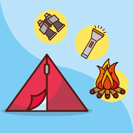 camp tent lantern bonfire time to travel adventure equipment vector illustration Archivio Fotografico - 101115756