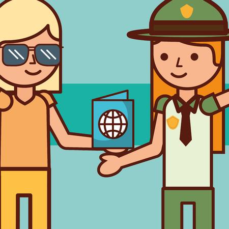time to travel girl tourist and female explorer passport vector illustration Illusztráció