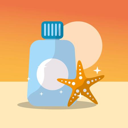 summer time beach sunscreen lotion starfish sun vector illustration