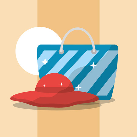 summer time beach bag and hat accessory vector illustration