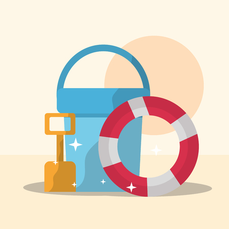 summer time beach bucket shovel and lifebuoy vector illustration Ilustracja