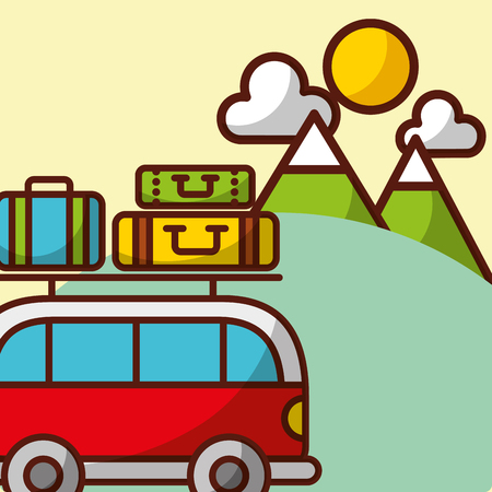 Time to travel forest mountains van baggage vector illustration. Illustration