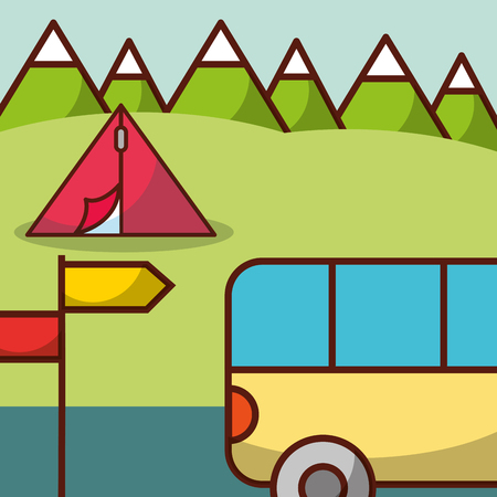Time to travel minibus camp tent mountains vector illustration.