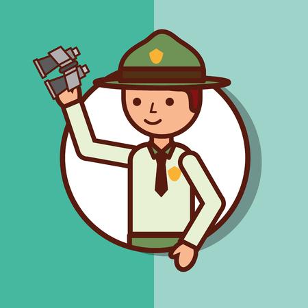 Time to travel boy explorer portrait vector illustration.