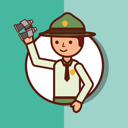 Time to travel boy explorer portrait vector illustration.