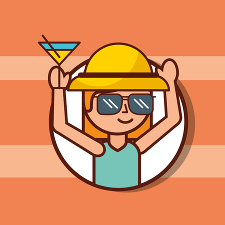 Time to travel girl tourist portrait holds cocktail vector illustration.