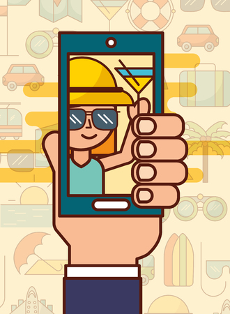 Hand holding smartphone photo girl with cocktail vacations vector illustration. Banque d'images - 101122799