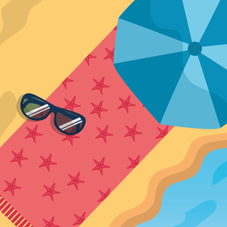 Summer time beach umbrella towel and sunglasses vector illustration.