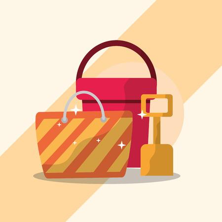 Summer time beach bucket shovel and bag vector illustration.