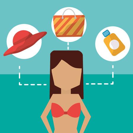 Summer time beach woman cartoon in bikini hat bag and sunscreen vector illustration. Stock Illustratie