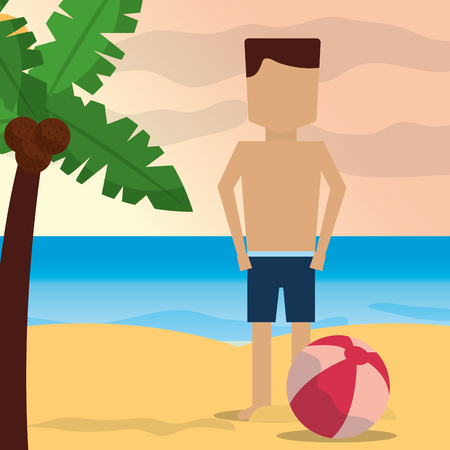 Summer time beach man in shore with ball and coconut palm vector illustration. Stock Illustratie