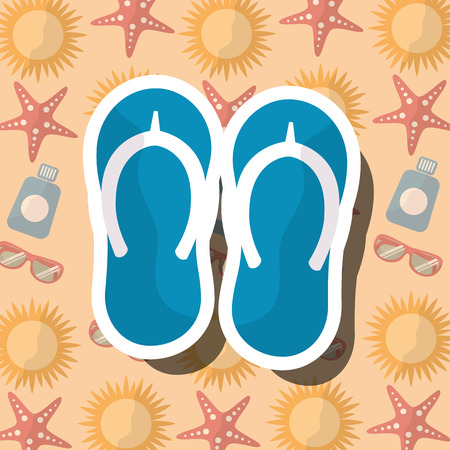 13760e63915 Summer time beach flip flops vacations accessory background vector  illustration.