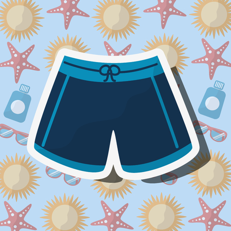Summer time beach swimsuit male vacations accessory background vector illustration.