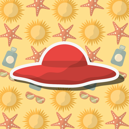 Summer time beach hat vacations accessory background vector illustration.