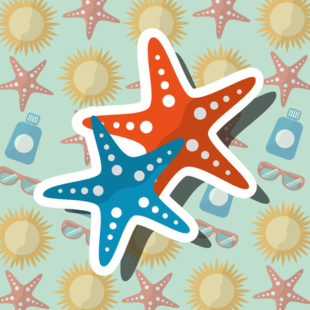 Summer time beach starfishes sea life vector illustration.