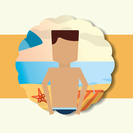 Summer time portrait man in the beach vacations vector illustration. Illustration