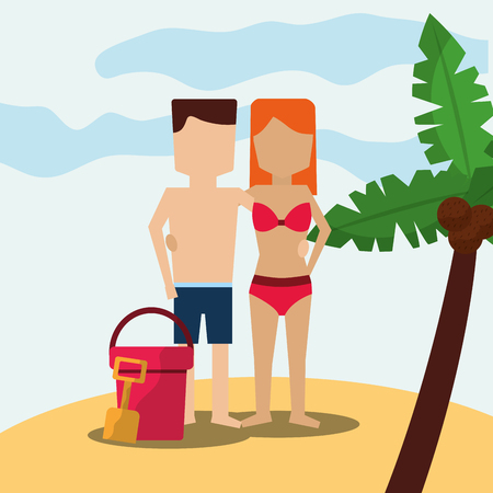 Couple character in the beach palm tree and bucket sand shovel vector illustration.
