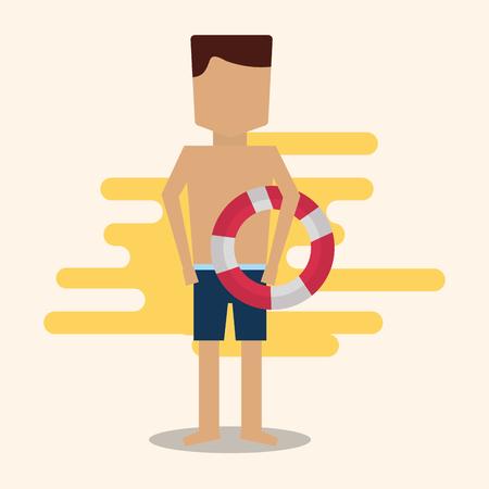 Summer time - man character holding lifebuoy vector illustration. Ilustrace