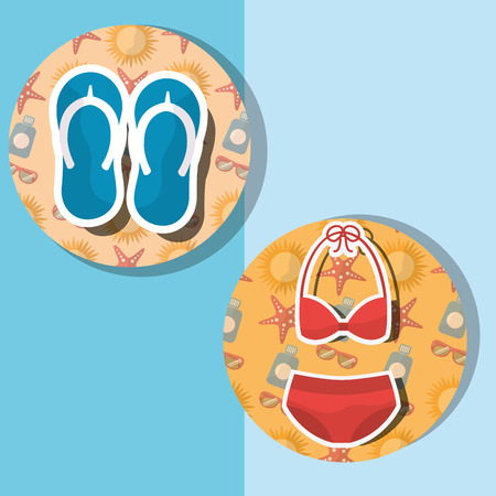 Summer time beach swimsuit and flip flops vector illustration.