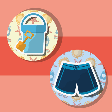 Summer time beach bucket shovel and short vector illustration.