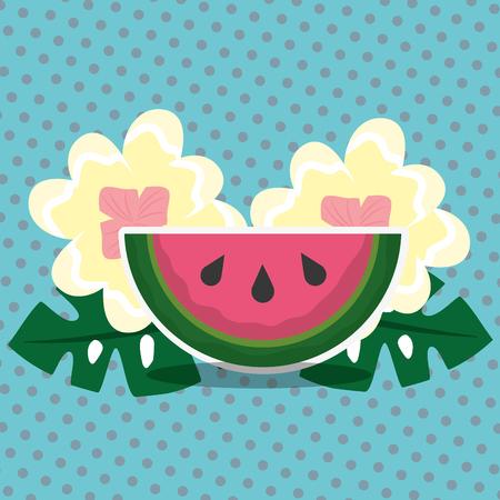 Summer time tropical watermelon fruit flowers vector illustration.