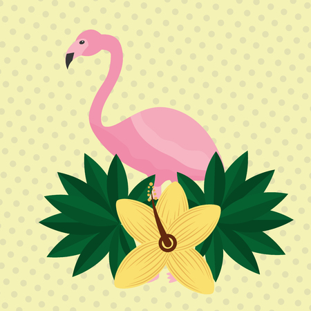 Summer time tropical flamingo hibiscus flower leaves vector illustration.