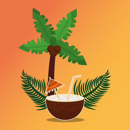 Summer time tropical cocktail coconut and palm tree vector illustration. Illustration