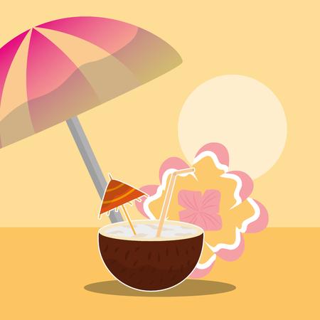 Summer time tropical coconut cocktail umbrella and flower vector illustration. Illustration