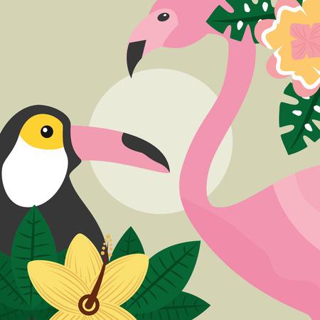 Summer time tropical birds toucan and flamingo vector illustration.
