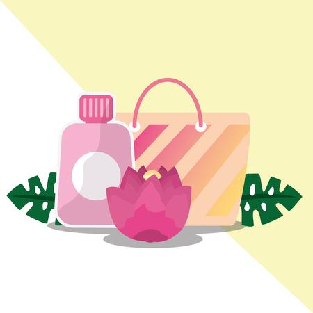 Summer time tropical flower and bag sunblock vector illustration. Illustration
