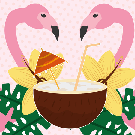 Summer time tropical flamingos cocktail coconut beverage flowers vector illustration.