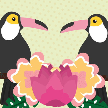 Summer time tropical birds toucan exotic flowers vector illustration.