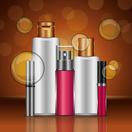 Lotion cream mascara perfume gloss cosmetics makeup golden blur bubbles vector illustration. Standard-Bild - 101123657